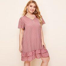 Plus V-neck Layered Ruffle Hem Polka Dot Dress
