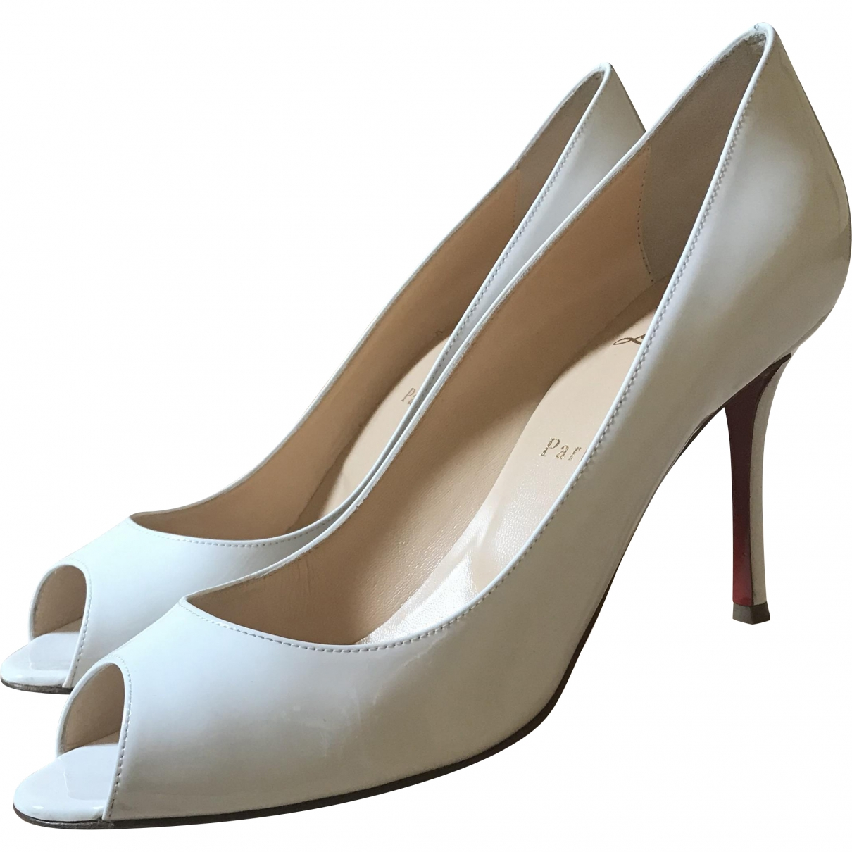 Christian Louboutin \N White Patent leather Heels for Women 39.5 EU
