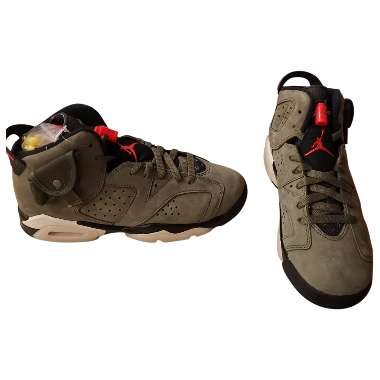 Nike X Travis Scott - Baskets Air Jordan 1 pour femme en suede - kaki