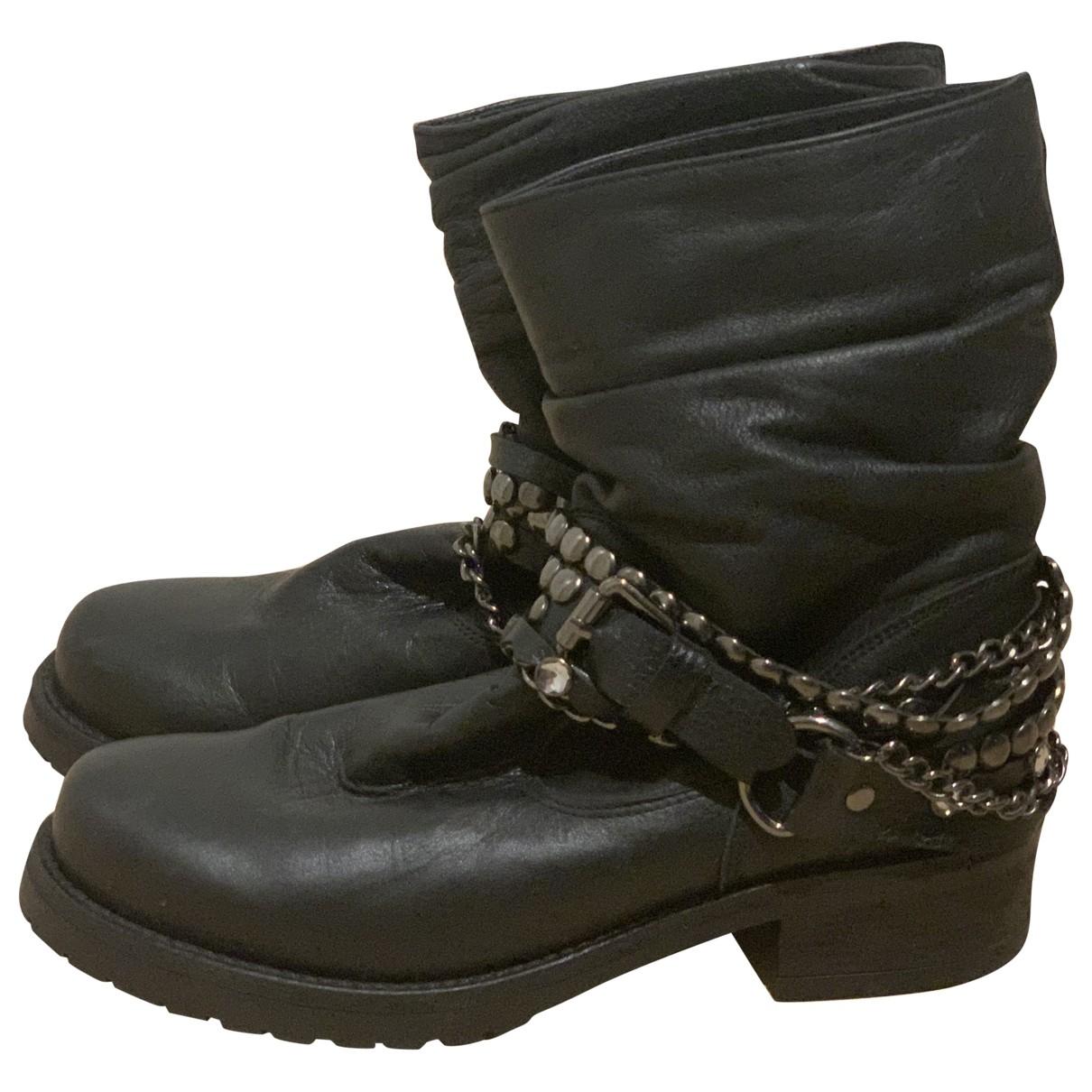 Moschino Love - Bottes   pour femme en cuir - noir