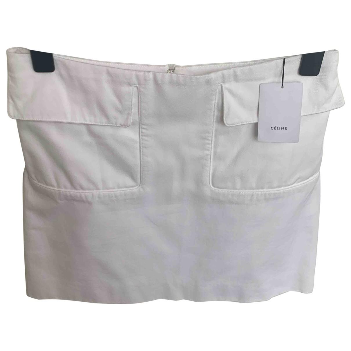 Celine \N White Cotton skirt for Women 38 FR
