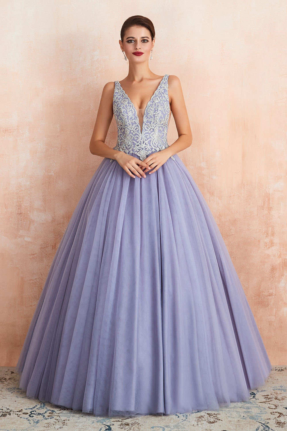 BMbridal Gorgeous Lavender Lace Prom Dress V-Neck Ball Gown Tulle Formal Wears