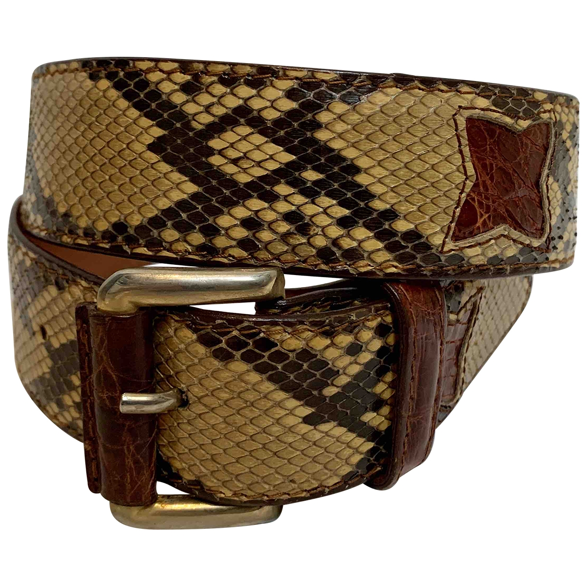 Non Signé / Unsigned \N Yellow Python belt for Women 75 cm