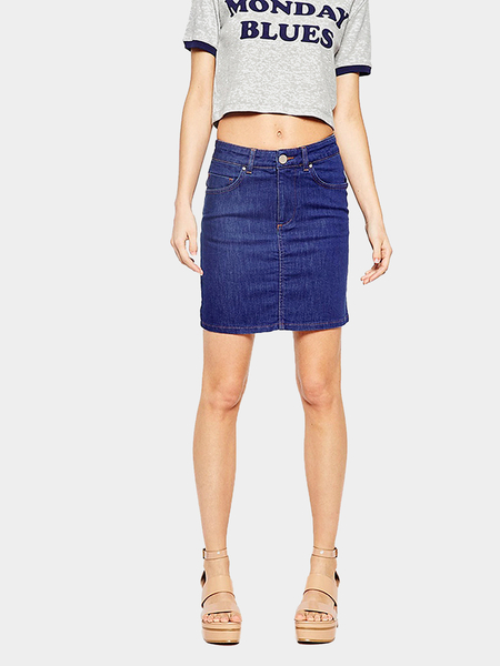 Yoins Deep Blue Mid Waist Denim Pencil Skirt