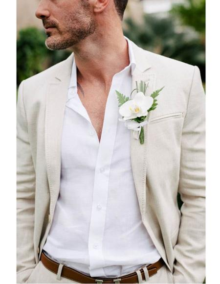 Mens Beach Wedding Attire Suit Menswear Ivory 199