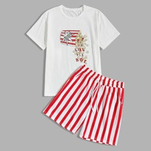 Guys Popcorn And Letter Graphic Tee & Striped Shorts
