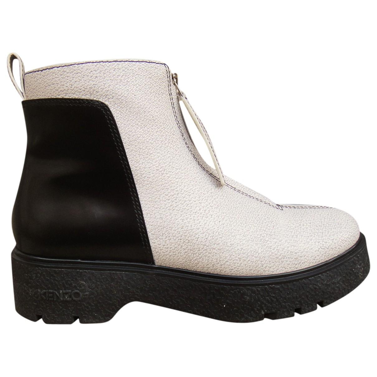 Kenzo - Boots   pour femme en cuir - blanc