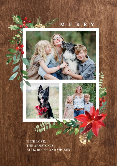 Christmas Photo Cards 5x7 Cards, Premium Cardstock 120lb, Card & Stationery -Christmas Woodgrain Merry Foliage by Tumbalina