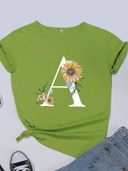 Milanoo Short Sleeves Tees Sunflower Printed Jewel Neck Women T Shirt