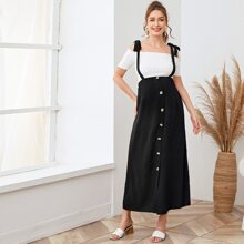 Maternity Knot Strap Buttoned Front Pinafore Skirt