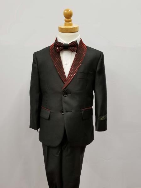 Mens Single Breasted Shawl Lapel Suit Black with Red