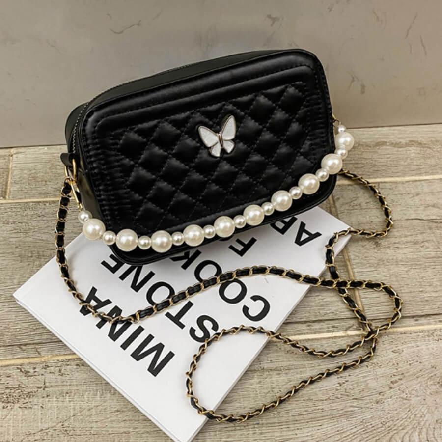 LW Lovely Stylish Chain Strap Black Crossbody Bag