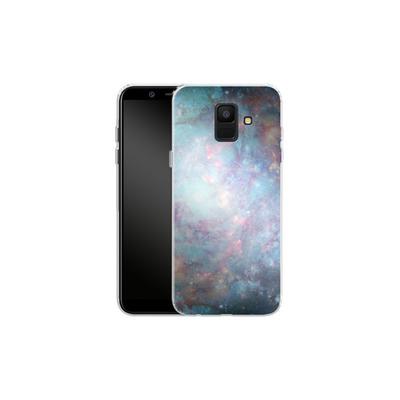 Samsung Galaxy A6 Silikon Handyhuelle - Abstract Galaxy - Blue von Barruf