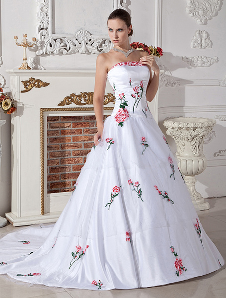 Milanoo Beautiful White A-line Strapless Embroidery Satin Organza Wedding Gown