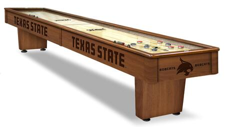 SB12TexsSt Texas State 12' Shuffleboard Table with Solid Hardwood Cabinet  Laser Engraved Graphics  Hidden Storage Drawer and Pucks  Table Brush and