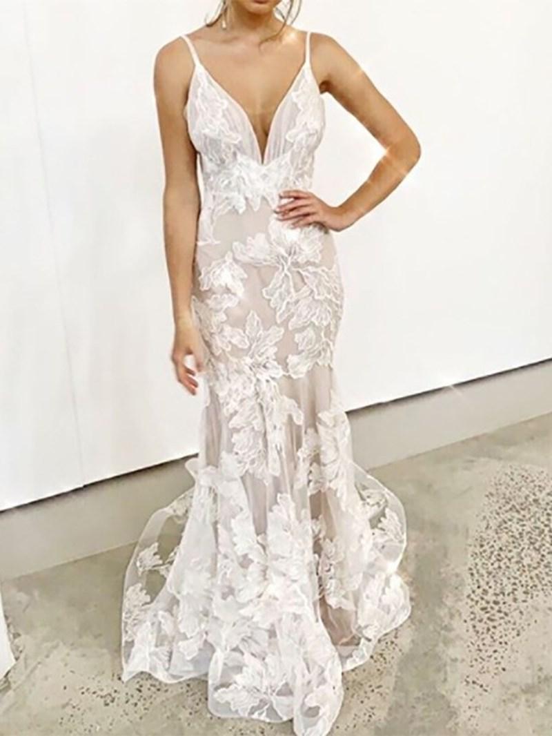 Ericdress Appliques Mermaid Spaghetti Straps Beach Wedding Dress 2020