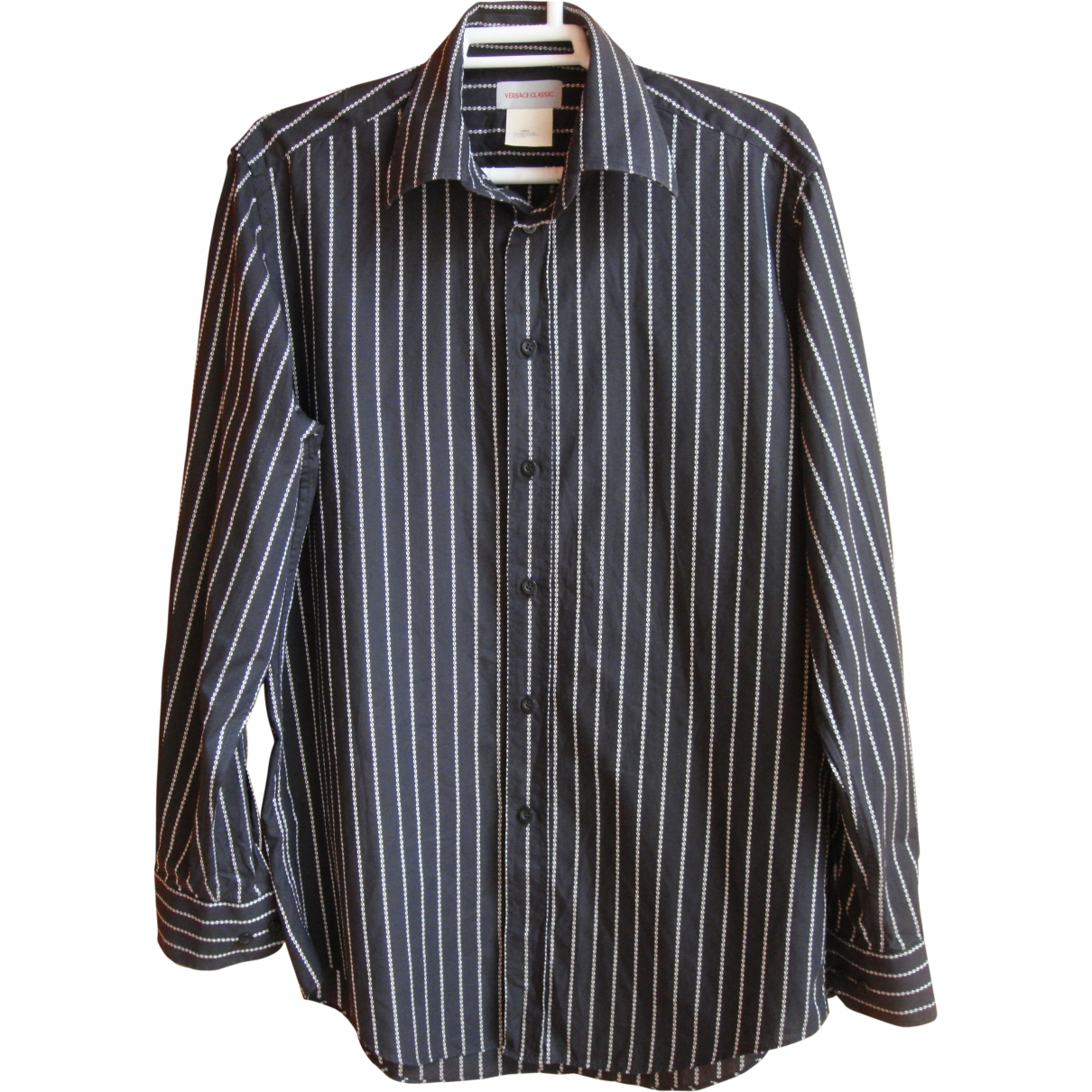 Versace \N Black Cotton Shirts for Men 40 EU (tour de cou / collar)