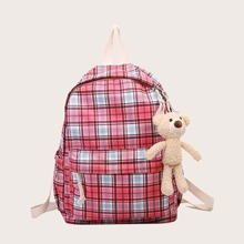 Girls Plaid Backpack With Toy Charm