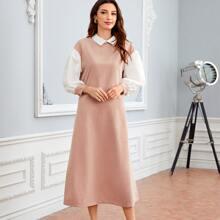 Tunika Kleid mit Bischofaermeln und Kontrast Kragen