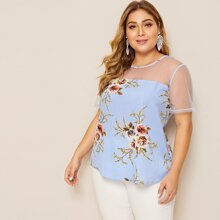 Plus Mesh Yoke Floral Print Top