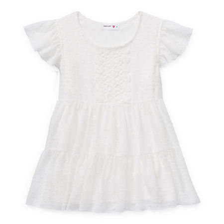 Beautees Big Girls Scoop Neck Short Sleeve Lace Trim Blouse, Medium (10-12) , White
