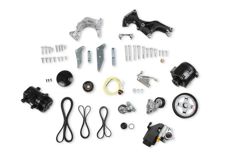 Holley 20-162BK COMP LO PASS A/C BKT KIT, LS, W/SD7-BLAC