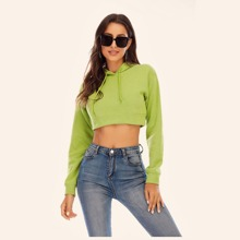 Solid Crop Drawstring Hooded Sweatshirt