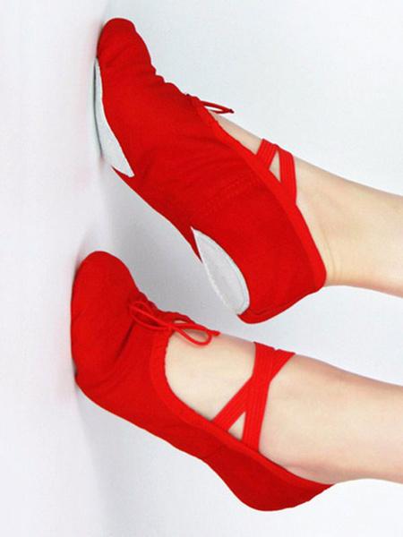 Milanoo Ballet Dance Shoes Canvas Round Toe Criss Cross Dance Shoes For Kids