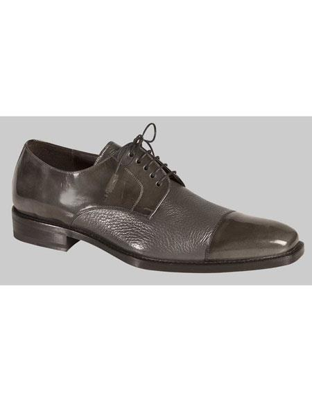 Mens 1920s Style Gray Lace Up Deer Skin Cap Toe Oxford Leather Shoes