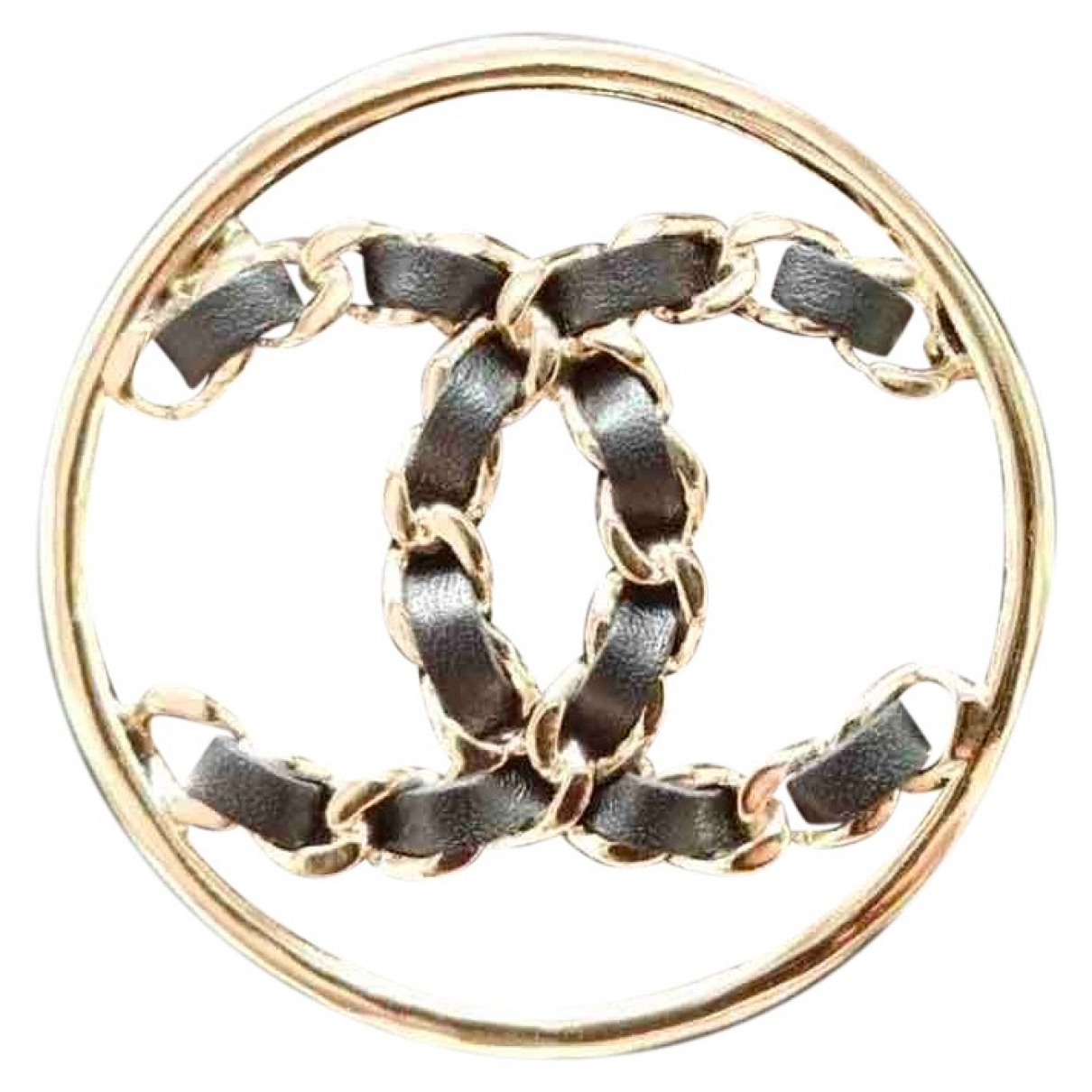 Chanel CC Brosche in  Gold Metall