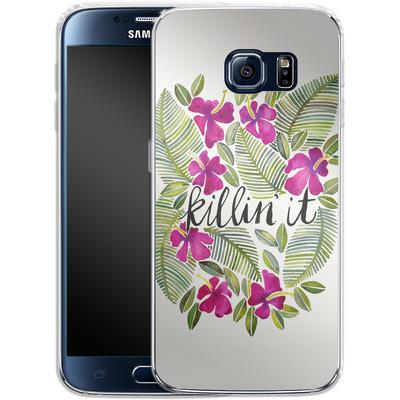 Samsung Galaxy S6 Silikon Handyhuelle - Killin It Pink von Cat Coquillette