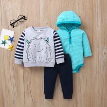 Baby Boy 3pcs Cartoon And Striped Print Sweatshirt & Sweatpants & Bodysuit
