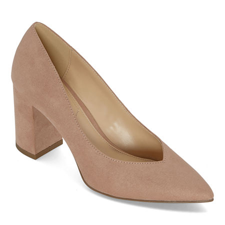Liz Claiborne Womens Haslett Slip-on Pointed Toe Block Heel Pumps, 10 Wide, Beige