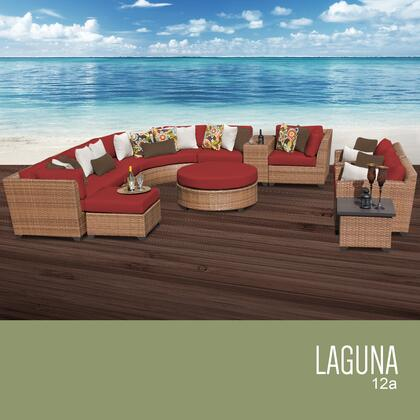 LAGUNA-12a-TERRACOTTA Laguna 12 Piece Outdoor Wicker Patio Furniture Set 12a with 2 Covers: Wheat and