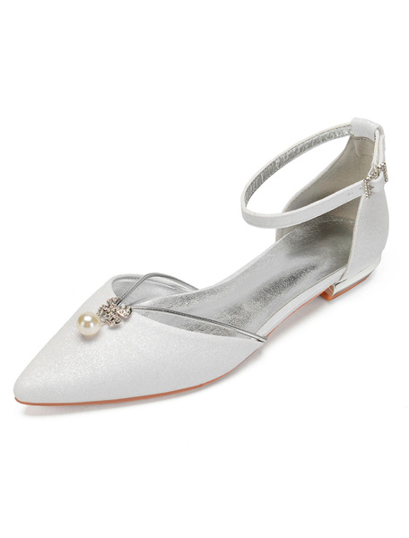 Milanoo Glitter Bridesmaid Flats Champagne Pointed Toe Rhinestones Wedding Shoes Women Party Shoes