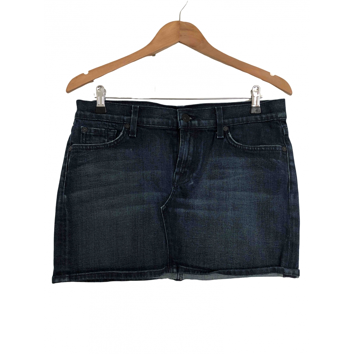 7 For All Mankind \N Blue Cotton - elasthane skirt for Women 38 FR