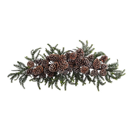 Nearly Natural 26in Teardrop Indoor Christmas Wreath, One Size , Green