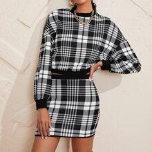 Drop Shoulder Plaid Pullover & Skirt Set