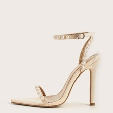Faux Pearl Decor Two Part Stiletto Heeled Sandals