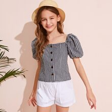 Girls Button Front Puff Sleeve Gingham Blouse