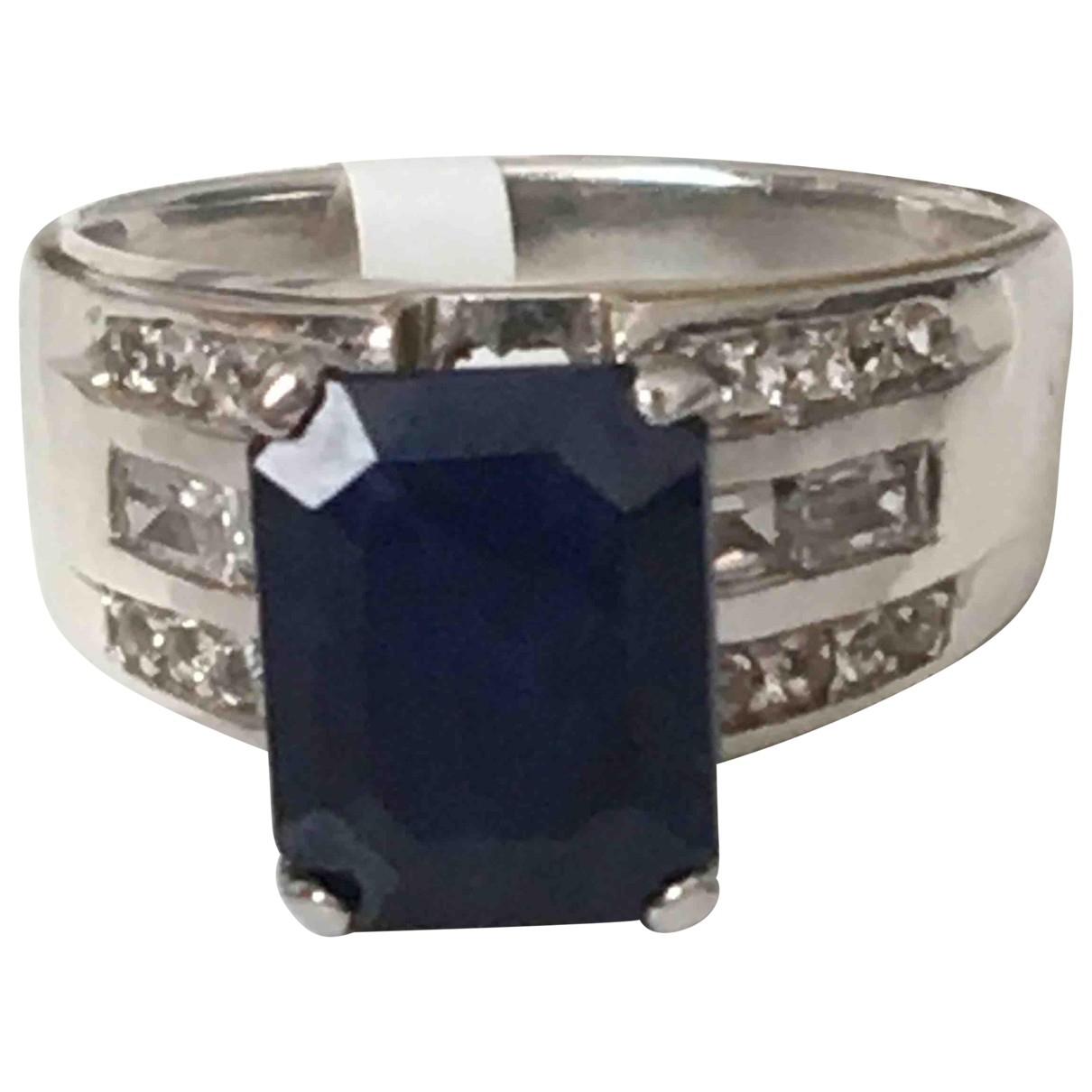 Non Signé / Unsigned Saphir Blue Silver Gilt ring for Women 55 EU