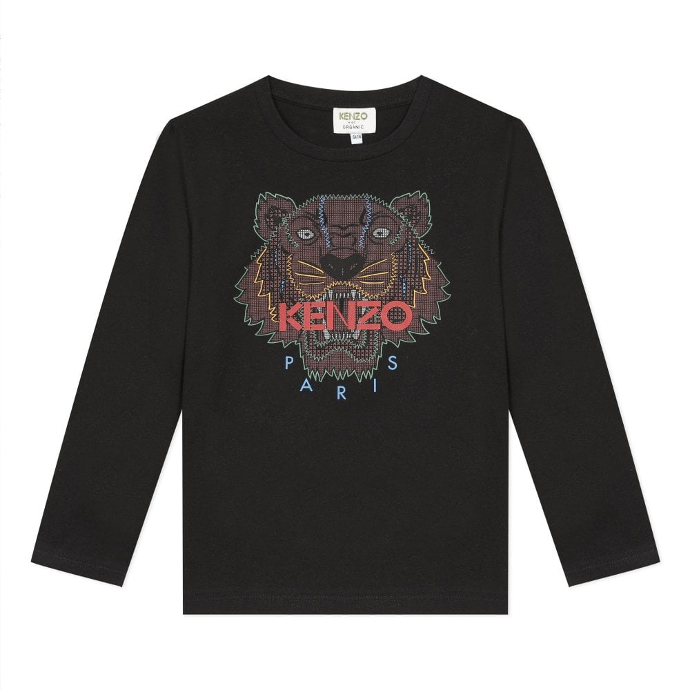 Kenzo Ls Tiger T-shirt Colour: BLACK, Size: 6 YEARS
