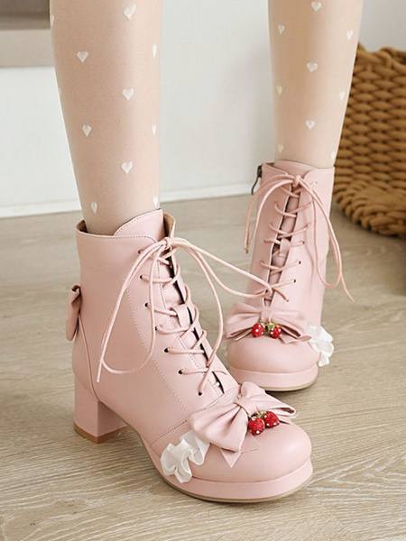 Milanoo Sweet Lolita Boots PU Leather Bows Chunky Heel Round Toe Pink Lolita Boots