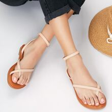 Toe Loop Ankle Wrap Strappy Gladiator Sandals