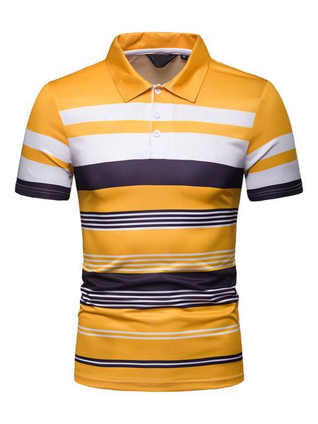 Milanoo Camisa polo morada Rayas Color Bloque Manga corta Hombres Camiseta casual