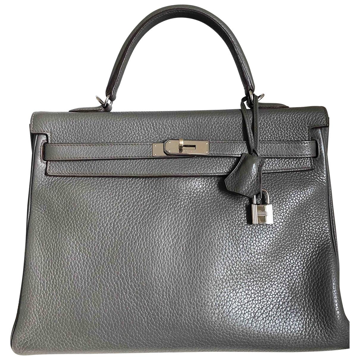 Hermès Kelly 35 Grey Leather handbag for Women \N