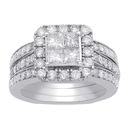 Womens 2 CT. T.W. Genuine White Diamond 10K White Gold Engagement Ring, 9 , No Color Family