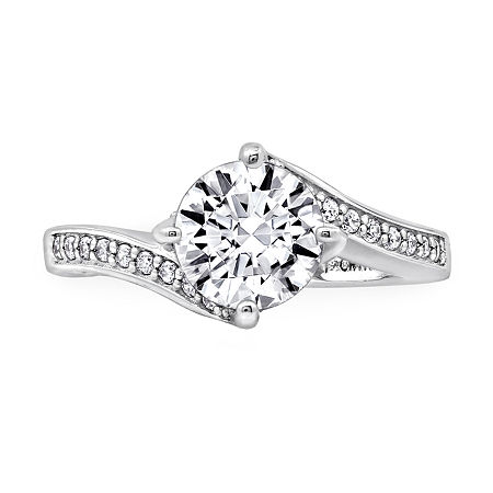 Womens 2 1/2 CT. T.W. Cubic Zirconia Sterling Silver Curved Engagement Ring, 5 , No Color Family