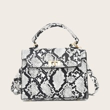 Snakeskin Flap Satchel Bag