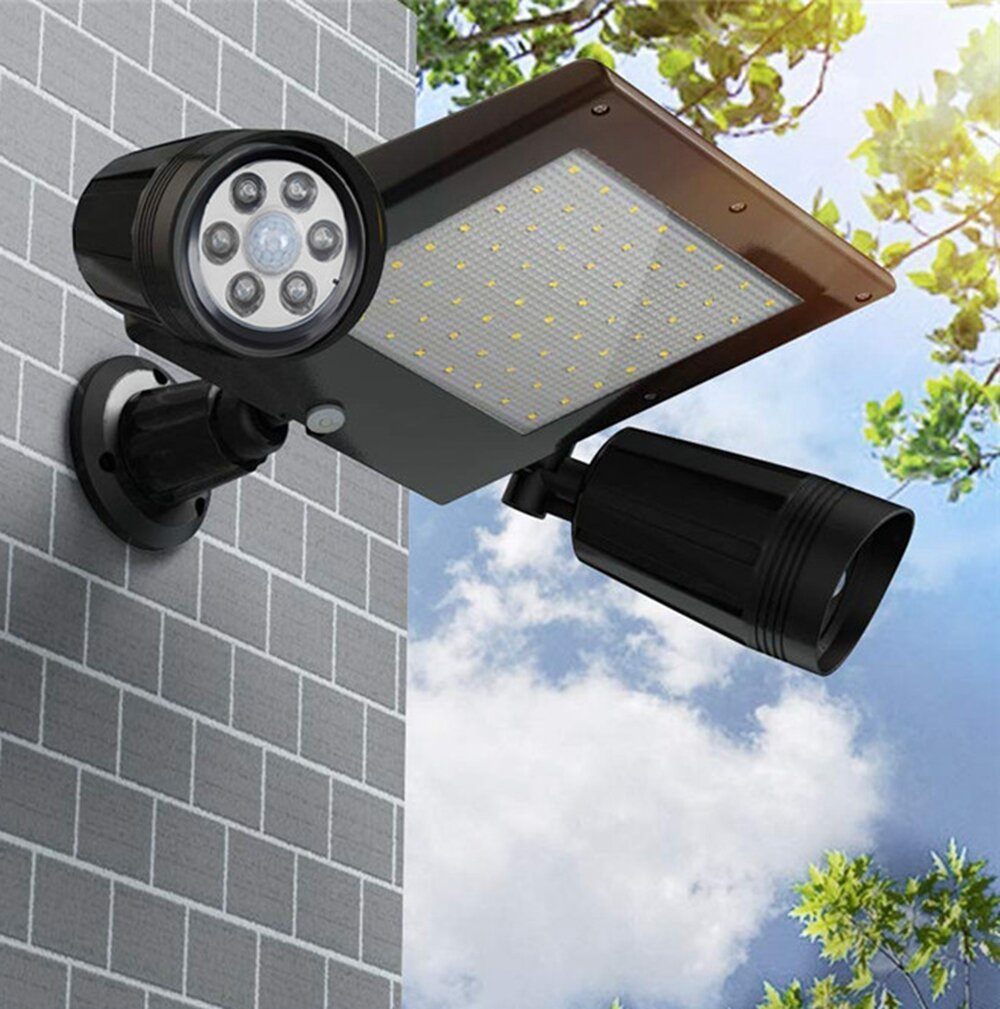 64LED Solar Flood Light Dual Head 360° Rotatable Outdoor Motion Sensor Wall Lamp